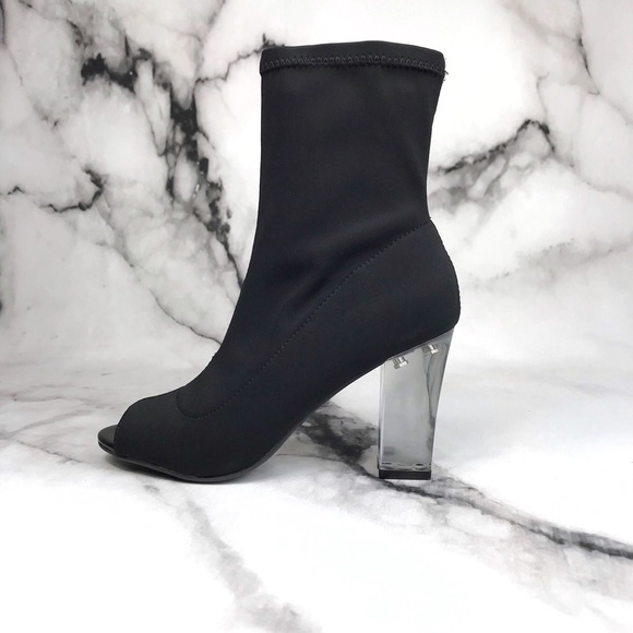 f1229abb10 parker & sky Shoes | Parker Sky Black Satin Clear Heel Booties ...